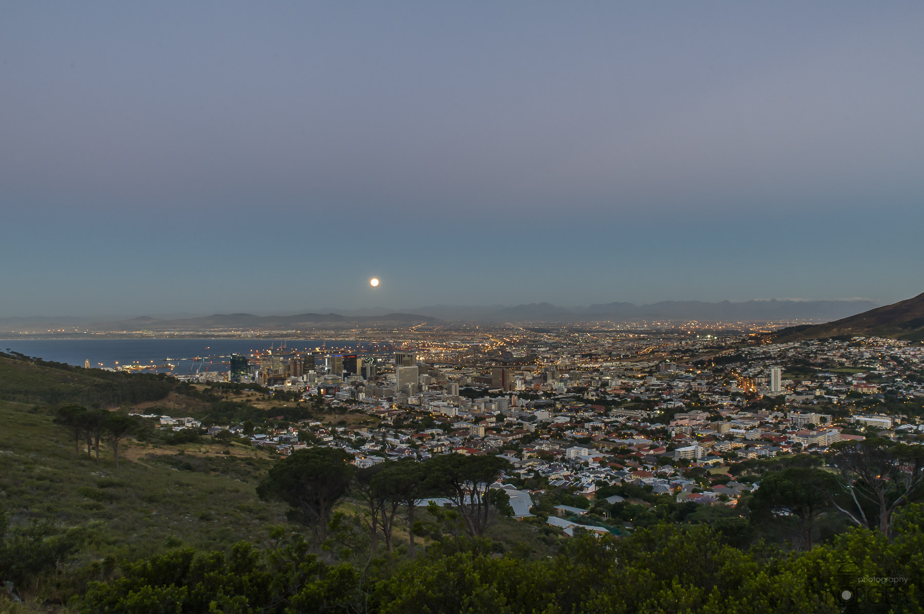 Big moon over Cape Town